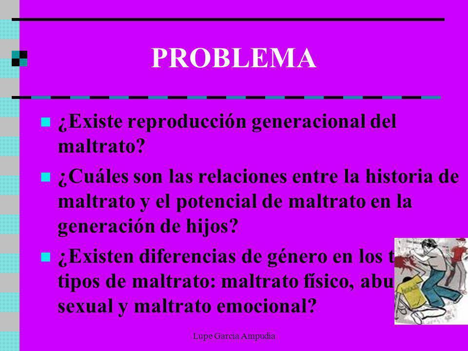 PROBLEMA ¿Existe reproducción generacional del maltrato? ¿Cuáles son las relaciones entre la historia de maltrato y el potencial de maltrato en la gen