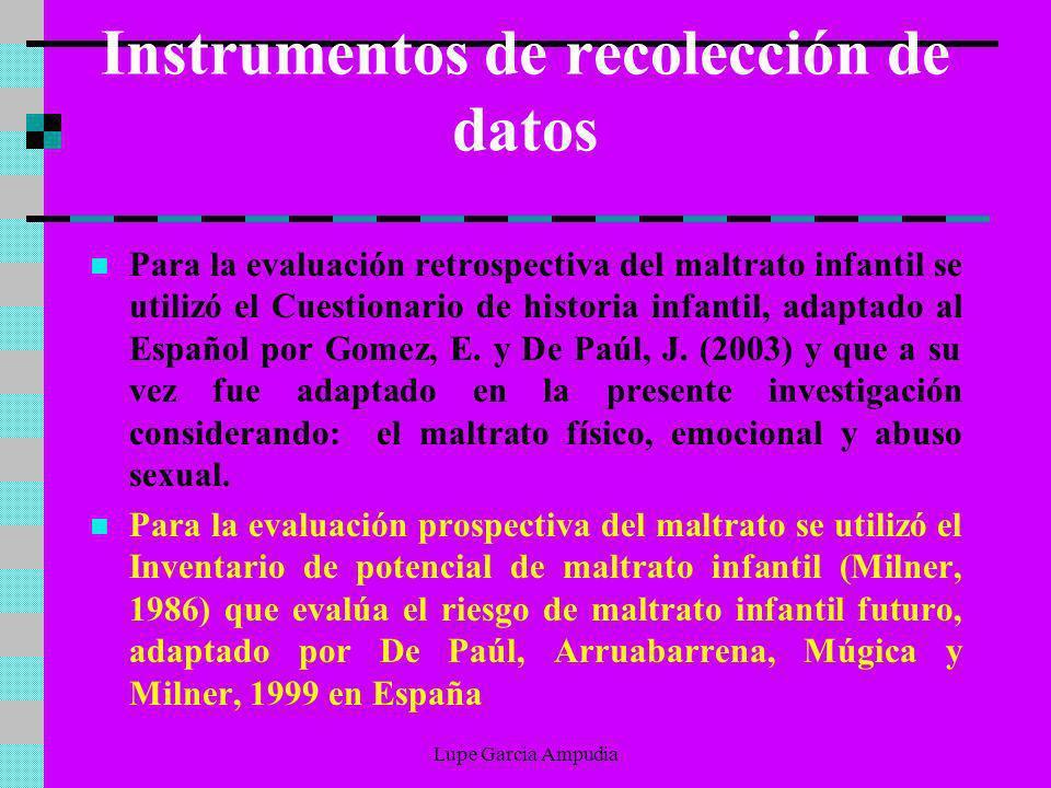 Instrumentos de recolección de datos Para la evaluación retrospectiva del maltrato infantil se utilizó el Cuestionario de historia infantil, adaptado