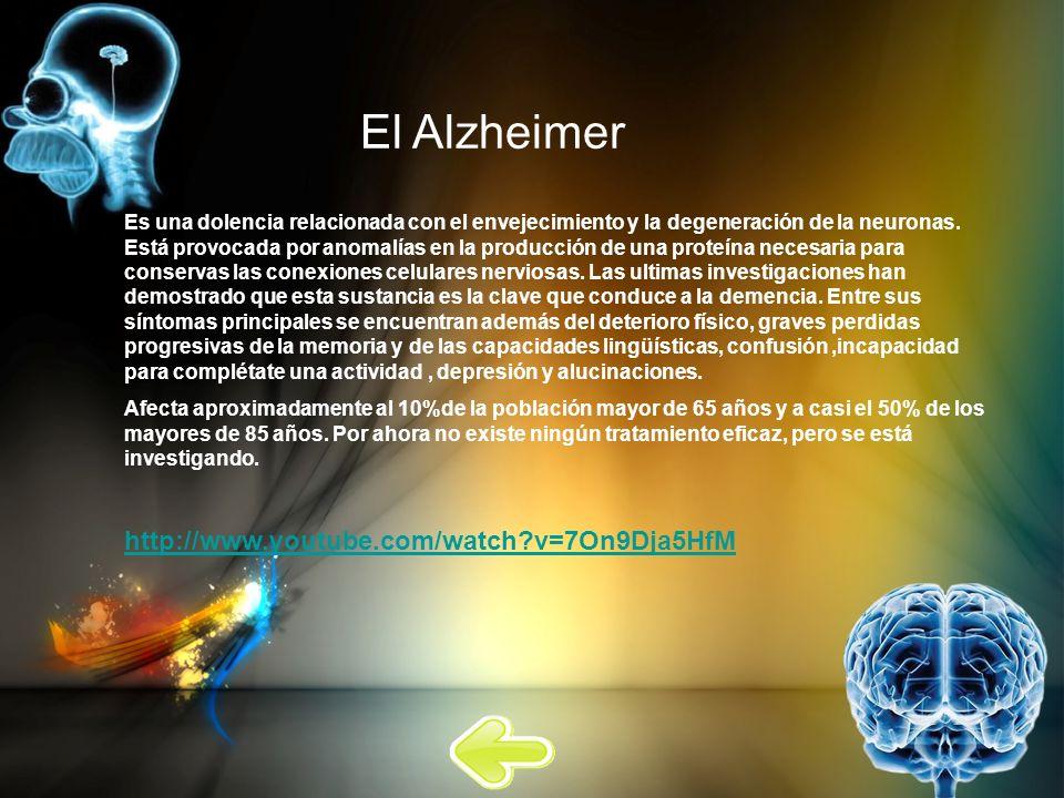 El Alzheimer Es una dolencia relacionada con el envejecimiento y la degeneración de la neuronas. Está provocada por anomalías en la producción de una
