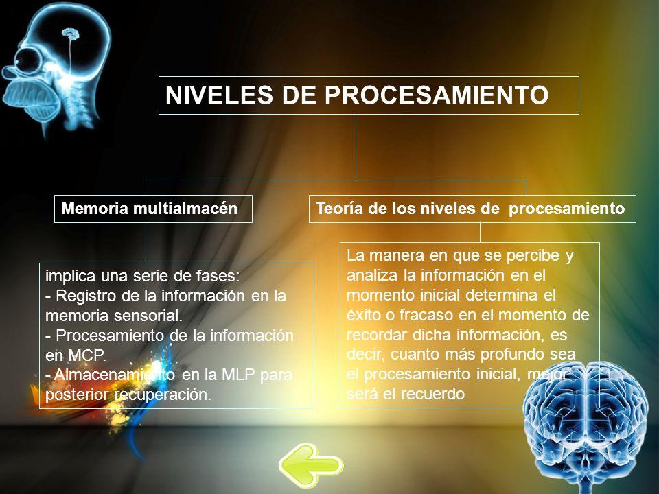 NIVELES DE PROCESAMIENTO Memoria multialmacénTeoría de los niveles de procesamiento La manera en que se percibe y analiza la información en el momento