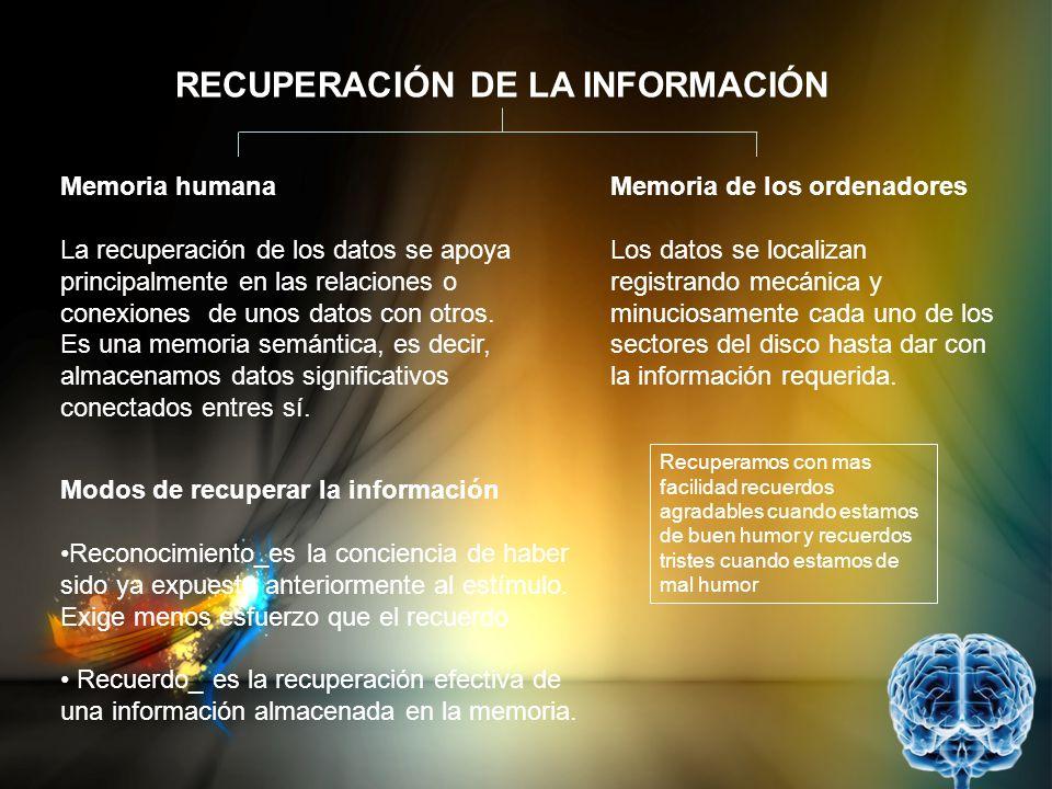 RECUPERACIÓN DE LA INFORMACIÓN Memoria humana La recuperación de los datos se apoya principalmente en las relaciones o conexiones de unos datos con ot