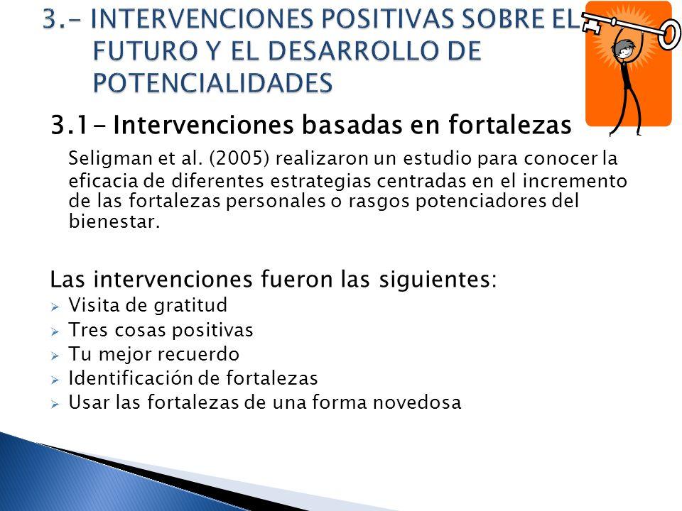 3.1- Intervenciones basadas en fortalezas Seligman et al. (2005) realizaron un estudio para conocer la eficacia de diferentes estrategias centradas en