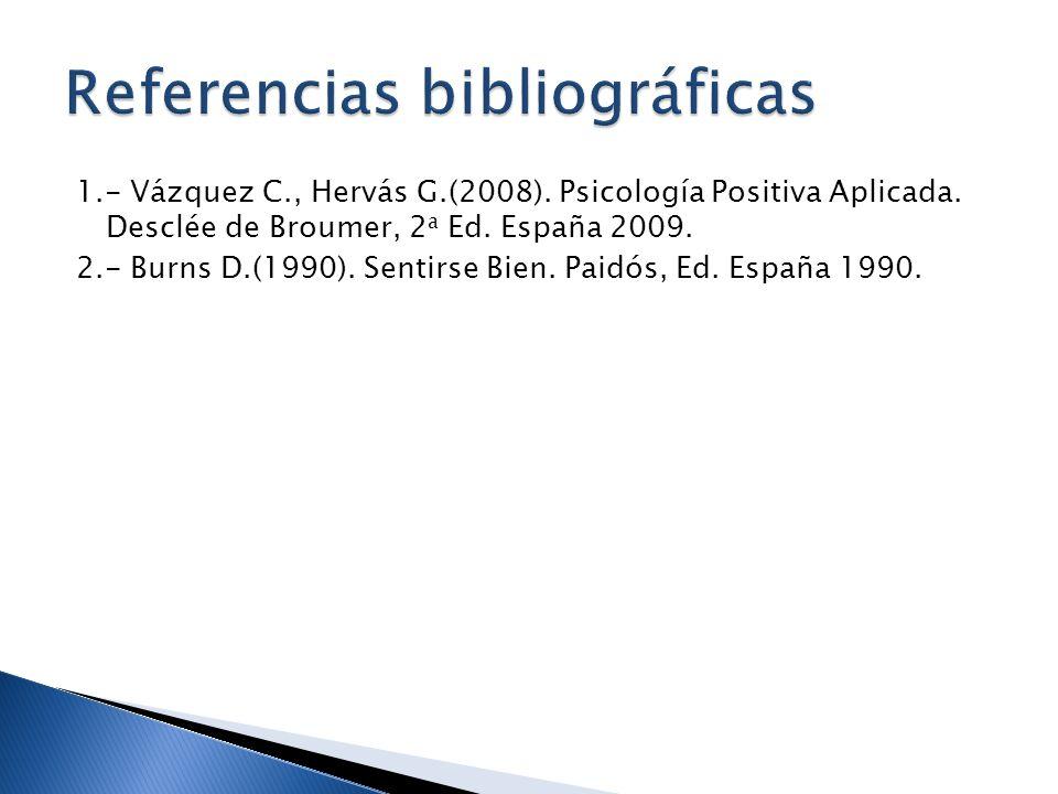 1.- Vázquez C., Hervás G.(2008). Psicología Positiva Aplicada. Desclée de Broumer, 2 a Ed. España 2009. 2.- Burns D.(1990). Sentirse Bien. Paidós, Ed.