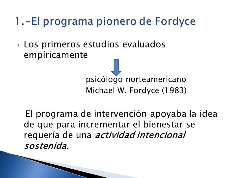 Los primeros estudios evaluados empíricamente psicólogo norteamericano Michael W. Fordyce (1983) El programa de intervención apoyaba la idea de que pa