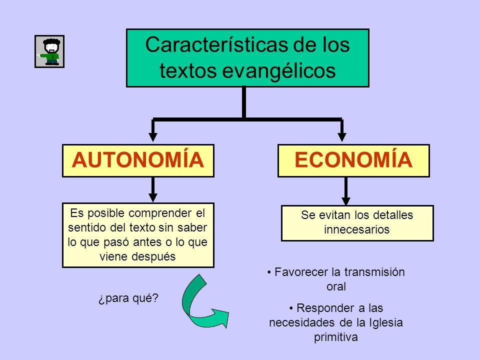 Características de los textos evangélicos AUTONOMÍAECONOMÍA Es posible comprender el sentido del texto sin saber lo que pasó antes o lo que viene desp