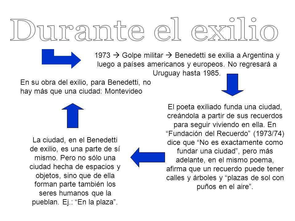 1973 Golpe militar Benedetti se exilia a Argentina y luego a países americanos y europeos.