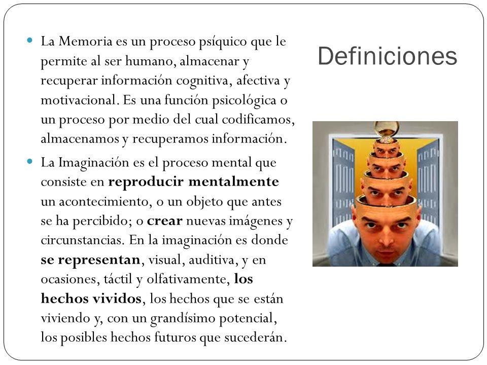 Definiciones La Memoria es un proceso psíquico que le permite al ser humano, almacenar y recuperar información cognitiva, afectiva y motivacional. Es