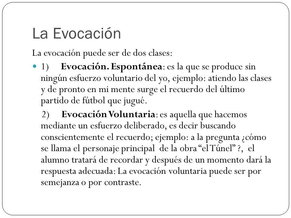 La Evocación La evocación puede ser de dos clases: 1) Evocación. Espontánea: es la que se produce sin ningún esfuerzo voluntario del yo, ejemplo: atie