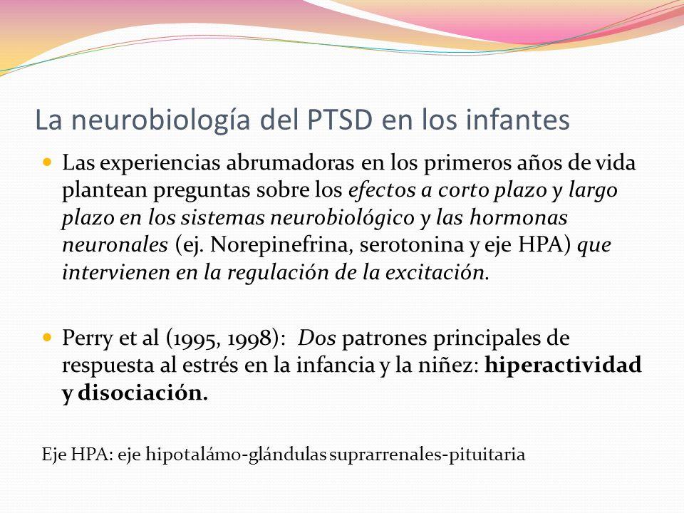 La neurobiología del PTSD en los infantes Las experiencias abrumadoras en los primeros años de vida plantean preguntas sobre los efectos a corto plazo y largo plazo en los sistemas neurobiológico y las hormonas neuronales (ej.