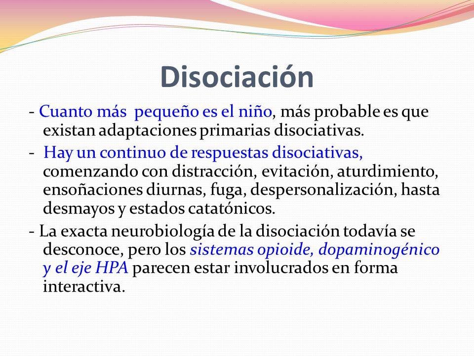 Disociación - Cuanto más pequeño es el niño, más probable es que existan adaptaciones primarias disociativas.