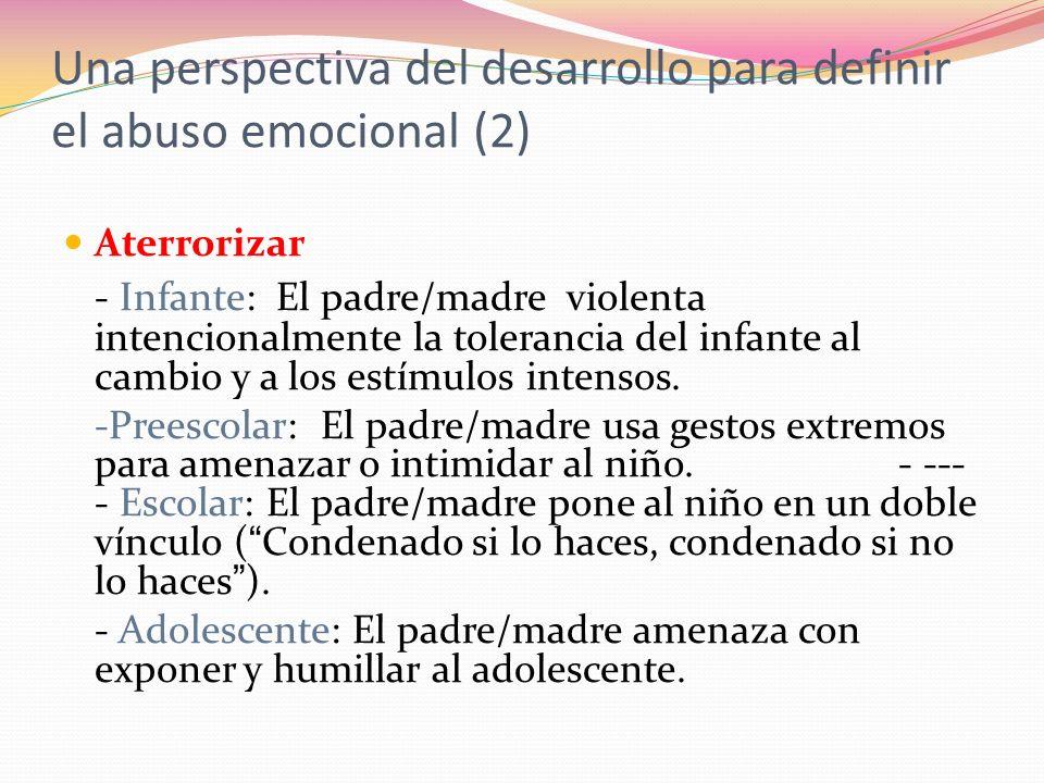 Aterrorizar - Infante: El padre/madre violenta intencionalmente la tolerancia del infante al cambio y a los estímulos intensos.