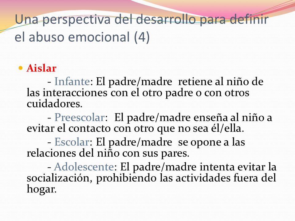 Aislar - Infante: El padre/madre retiene al niño de las interacciones con el otro padre o con otros cuidadores.