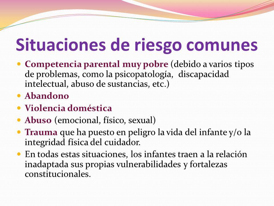 Situaciones de riesgo comunes Competencia parental muy pobre (debido a varios tipos de problemas, como la psicopatología, discapacidad intelectual, abuso de sustancias, etc.) Abandono Violencia doméstica Abuso (emocional, físico, sexual) Trauma que ha puesto en peligro la vida del infante y/o la integridad física del cuidador.