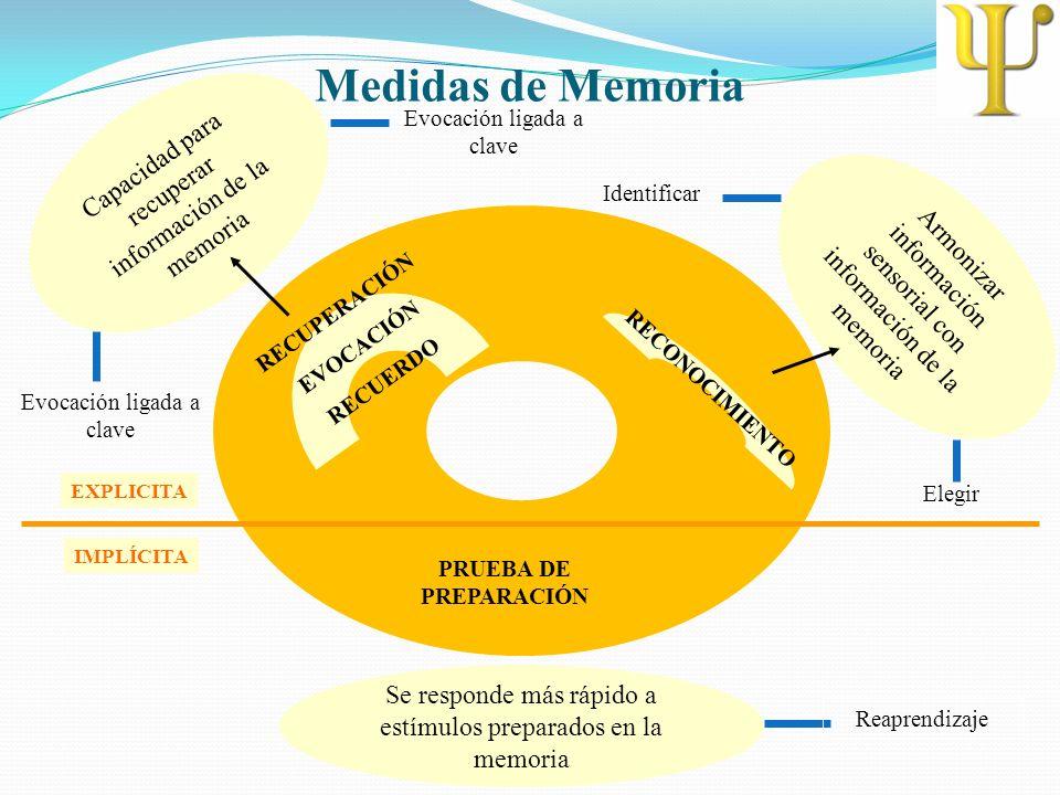 Medidas de Memoria RECUPERACIÓN EVOCACIÓN RECUERDO Capacidad para recuperar información de la memoria Evocación ligada a clave RECONOCIMIENTO Armoniza