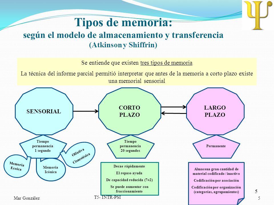 5 Mar González T5- INTR-PSI 5 Tipos de memoria: según el modelo de almacenamiento y transferencia (Atkinson y Shiffrin) Se entiende que existen tres t