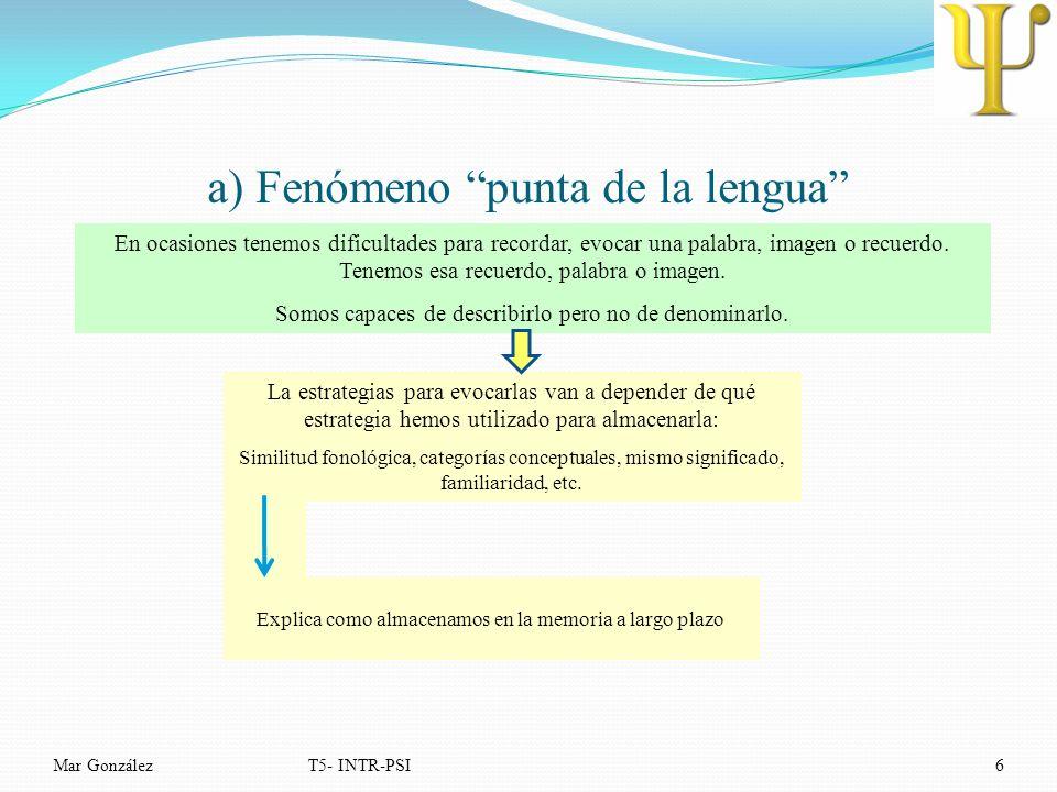 a) Fenómeno punta de la lengua Mar GonzálezT5- INTR-PSI6 En ocasiones tenemos dificultades para recordar, evocar una palabra, imagen o recuerdo. Tenem