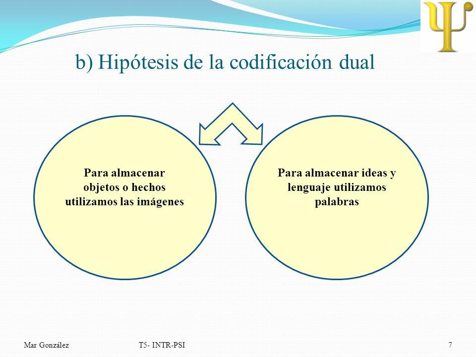 b) Hipótesis de la codificación dual Mar GonzálezT5- INTR-PSI7 Para almacenar objetos o hechos utilizamos las imágenes Para almacenar ideas y lenguaje