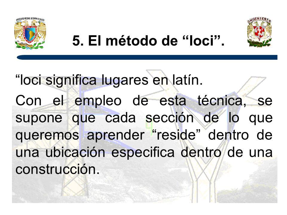 5.El método de loci. loci significa lugares en latín.
