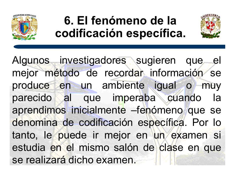 6.El fenómeno de la codificación específica.