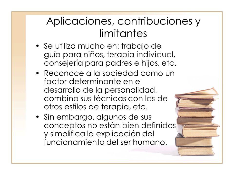 Aplicaciones, contribuciones y limitantes Se utiliza mucho en: trabajo de guía para niños, terapia individual, consejería para padres e hijos, etc.