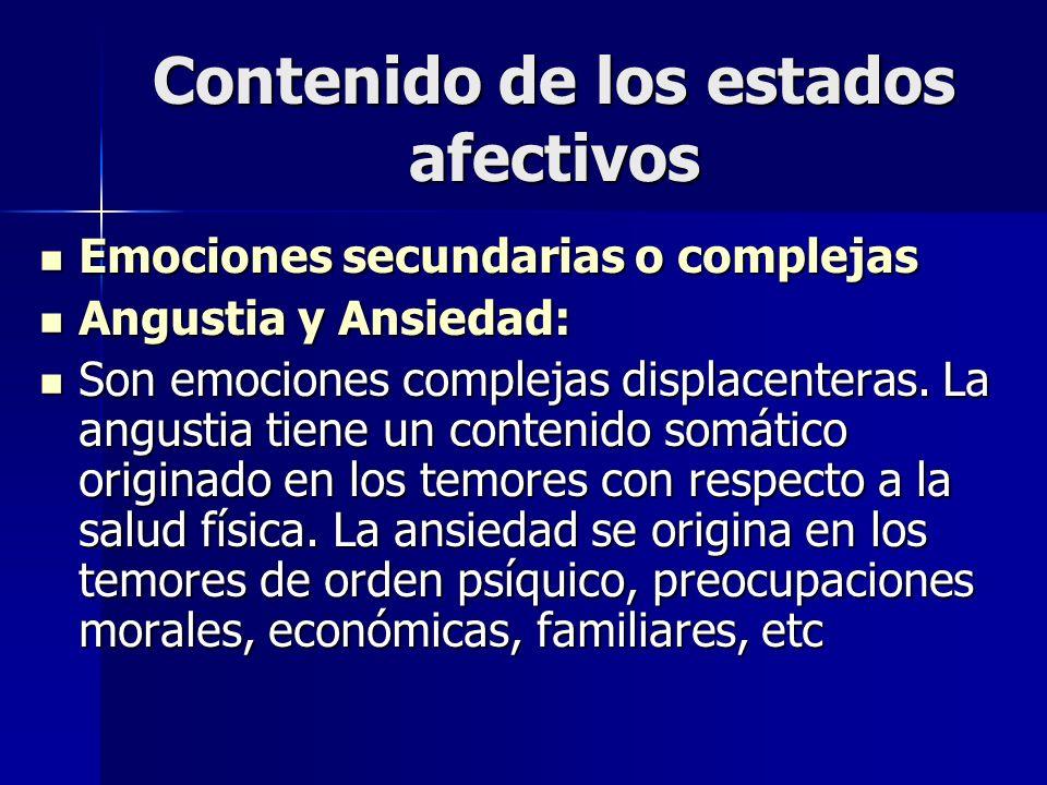 Contenido de los estados afectivos Emociones secundarias o complejas Emociones secundarias o complejas Angustia y Ansiedad: Angustia y Ansiedad: Son e