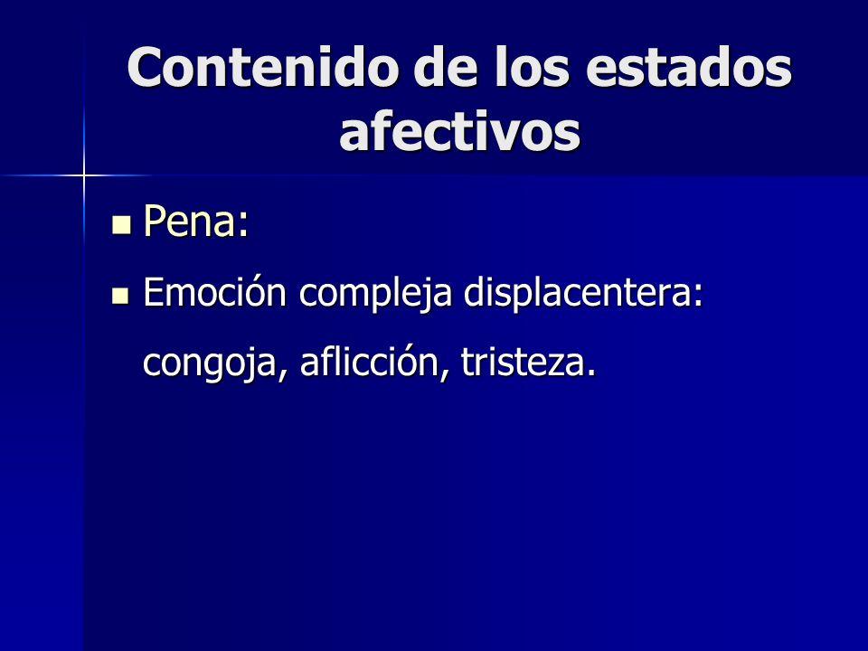 Contenido de los estados afectivos Pena: Pena: Emoción compleja displacentera: congoja, aflicción, tristeza. Emoción compleja displacentera: congoja,