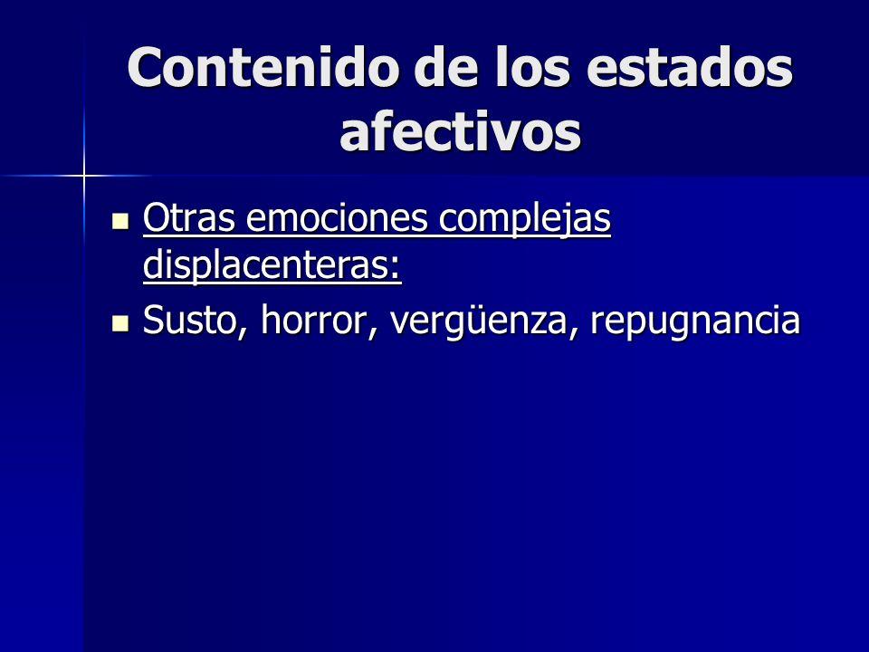 Contenido de los estados afectivos Otras emociones complejas displacenteras: Otras emociones complejas displacenteras: Susto, horror, vergüenza, repug