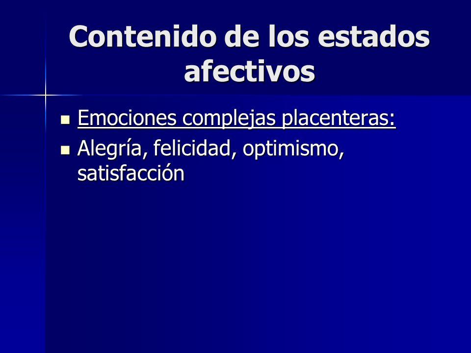 Contenido de los estados afectivos Emociones complejas placenteras: Emociones complejas placenteras: Alegría, felicidad, optimismo, satisfacción Alegr