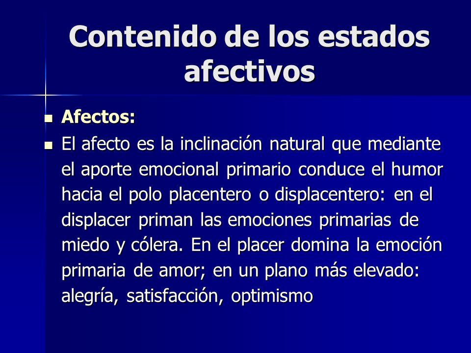 Contenido de los estados afectivos Afectos: Afectos: El afecto es la inclinación natural que mediante el aporte emocional primario conduce el humor ha