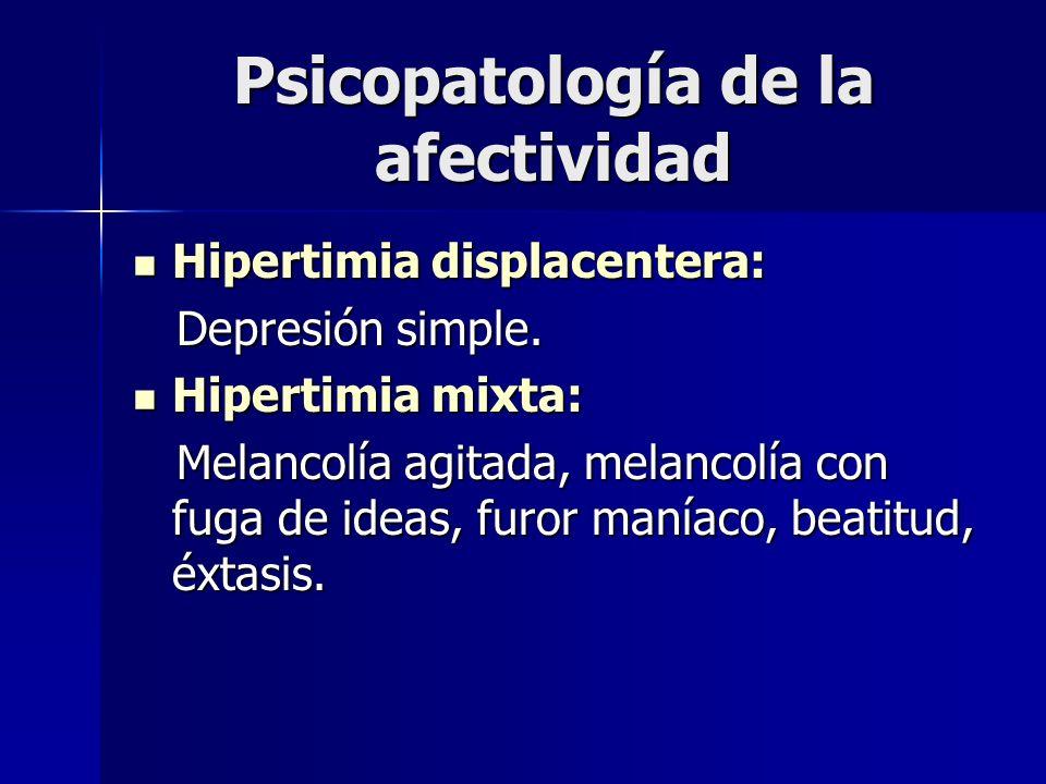 Psicopatología de la afectividad Hipertimia displacentera: Hipertimia displacentera: Depresión simple. Depresión simple. Hipertimia mixta: Hipertimia