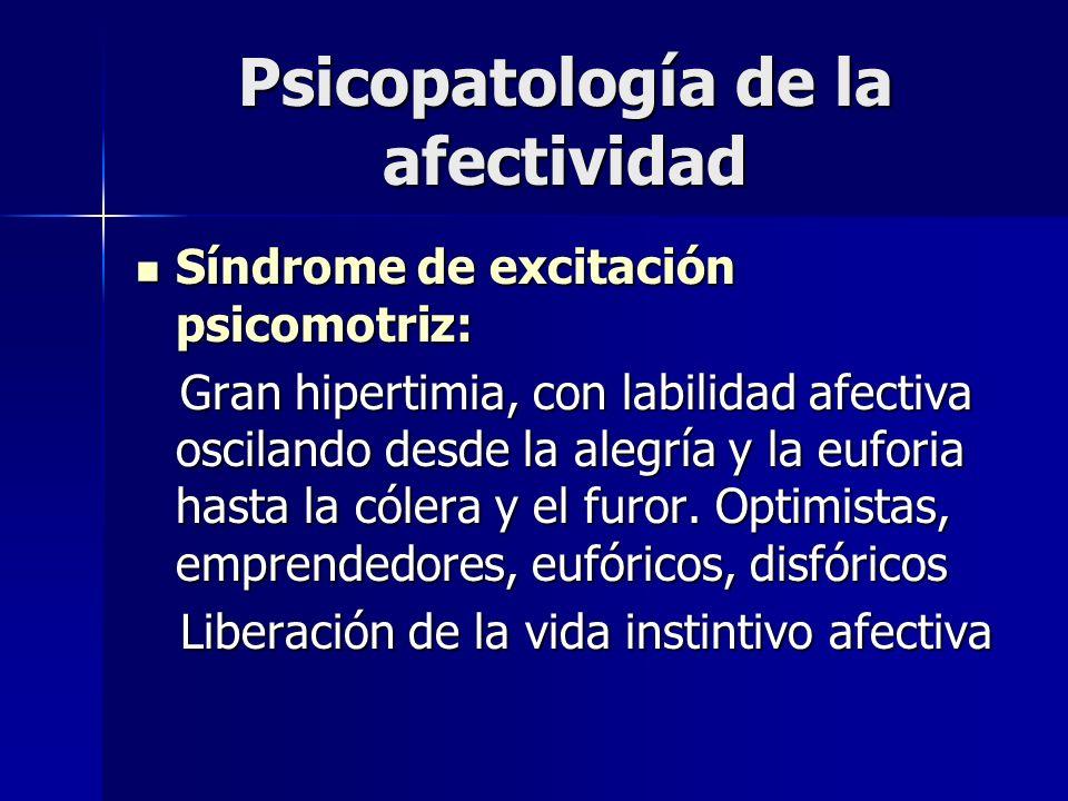 Psicopatología de la afectividad Síndrome de excitación psicomotriz: Síndrome de excitación psicomotriz: Gran hipertimia, con labilidad afectiva oscil