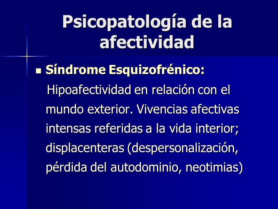 Psicopatología de la afectividad Síndrome Esquizofrénico: Síndrome Esquizofrénico: Hipoafectividad en relación con el mundo exterior. Vivencias afecti