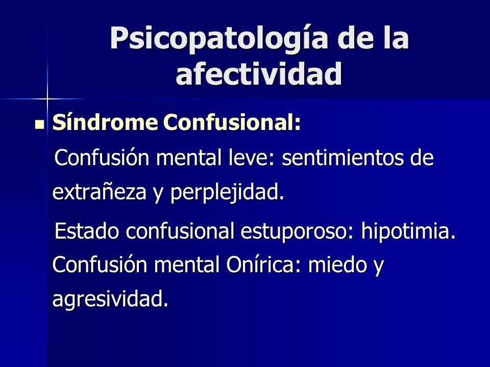 Psicopatología de la afectividad Síndrome Confusional: Síndrome Confusional: Confusión mental leve: sentimientos de extrañeza y perplejidad. Confusión