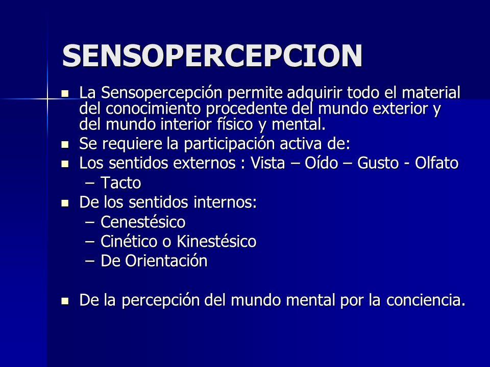 SENSOPERCEPCION La Sensopercepción permite adquirir todo el material del conocimiento procedente del mundo exterior y del mundo interior físico y ment