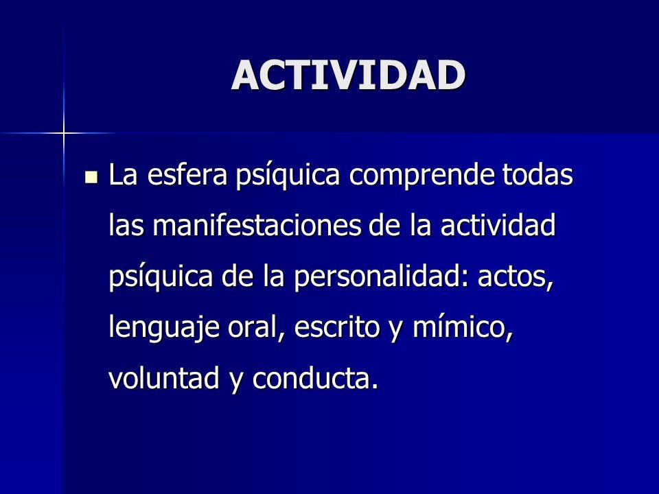 ACTIVIDAD La esfera psíquica comprende todas las manifestaciones de la actividad psíquica de la personalidad: actos, lenguaje oral, escrito y mímico,