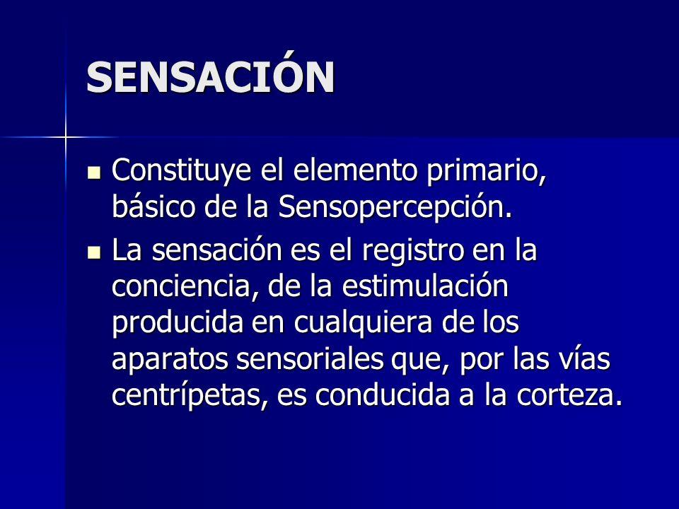 SENSACIÓN Constituye el elemento primario, básico de la Sensopercepción. Constituye el elemento primario, básico de la Sensopercepción. La sensación e