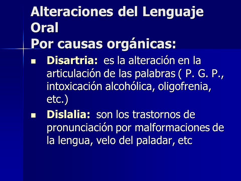 Alteraciones del Lenguaje Oral Por causas orgánicas: Disartria: es la alteración en la articulación de las palabras ( P. G. P., intoxicación alcohólic