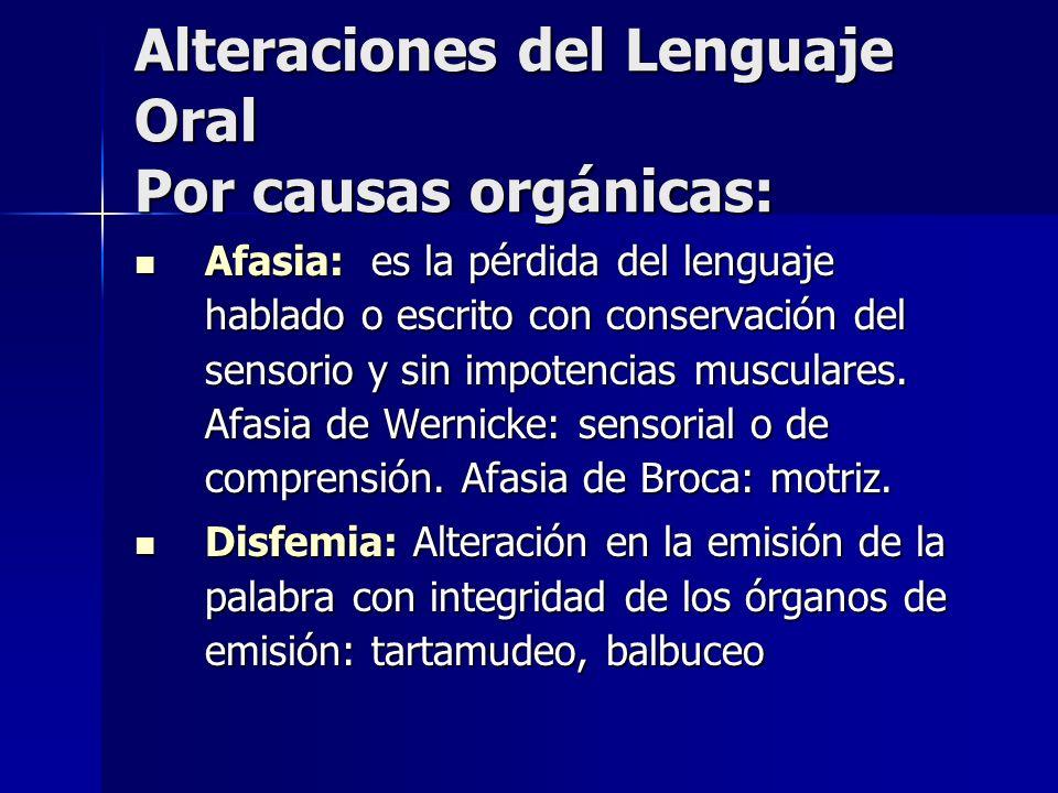 Alteraciones del Lenguaje Oral Por causas orgánicas: Afasia: es la pérdida del lenguaje hablado o escrito con conservación del sensorio y sin impotenc