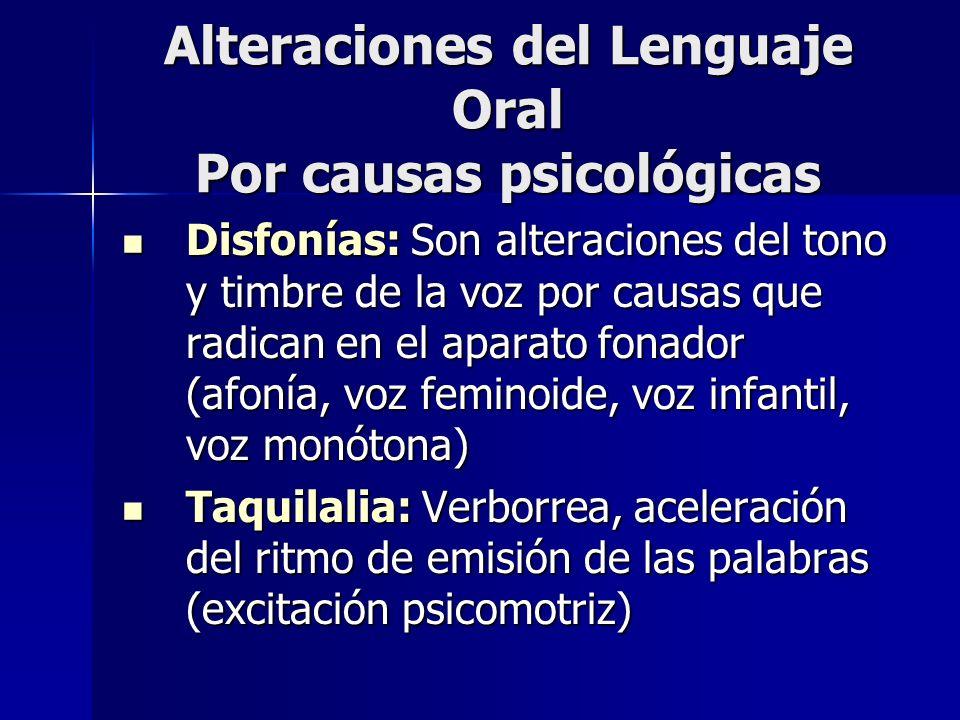 Alteraciones del Lenguaje Oral Por causas psicológicas Disfonías: Son alteraciones del tono y timbre de la voz por causas que radican en el aparato fo