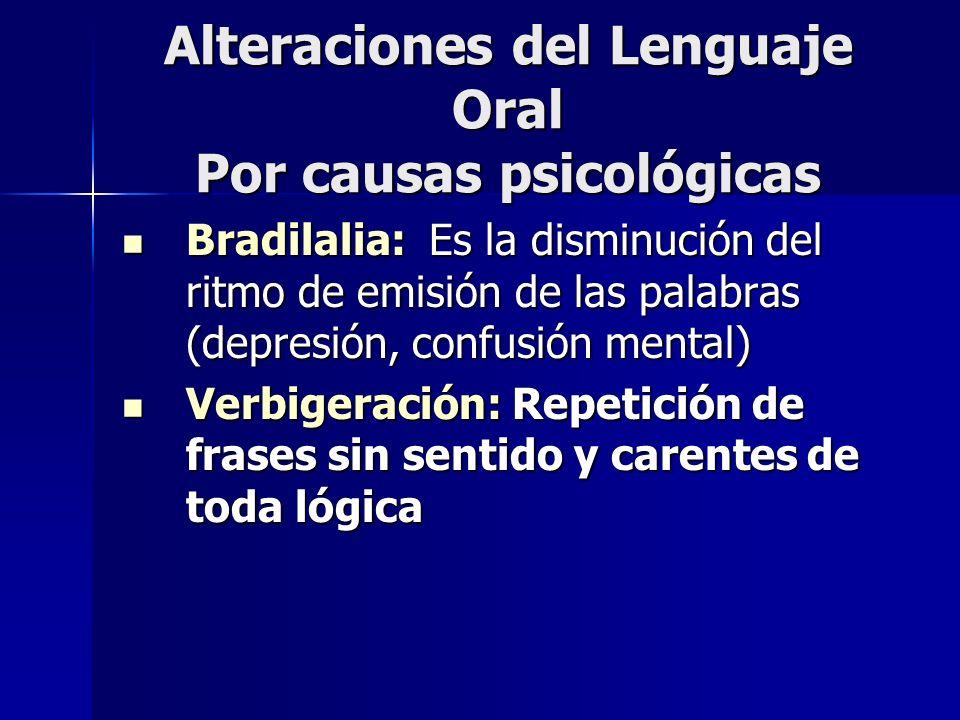 Alteraciones del Lenguaje Oral Por causas psicológicas Bradilalia: Es la disminución del ritmo de emisión de las palabras (depresión, confusión mental