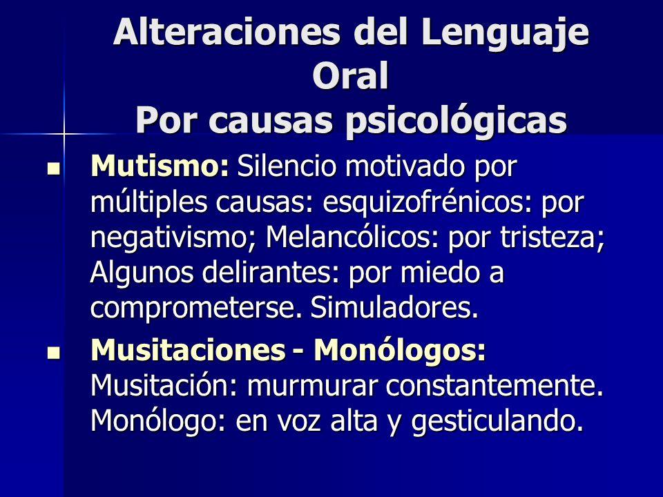 Alteraciones del Lenguaje Oral Por causas psicológicas Mutismo: Silencio motivado por múltiples causas: esquizofrénicos: por negativismo; Melancólicos
