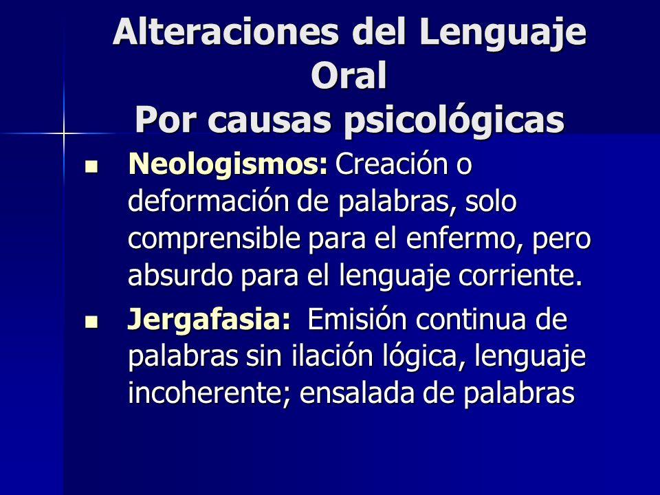Alteraciones del Lenguaje Oral Por causas psicológicas Neologismos: Creación o deformación de palabras, solo comprensible para el enfermo, pero absurd