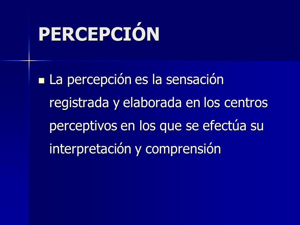 PERCEPCIÓN La percepción es la sensación registrada y elaborada en los centros perceptivos en los que se efectúa su interpretación y comprensión La pe