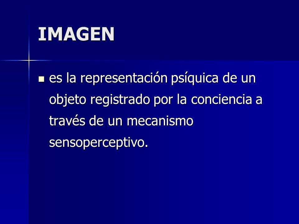 IMAGEN es la representación psíquica de un objeto registrado por la conciencia a través de un mecanismo sensoperceptivo. es la representación psíquica
