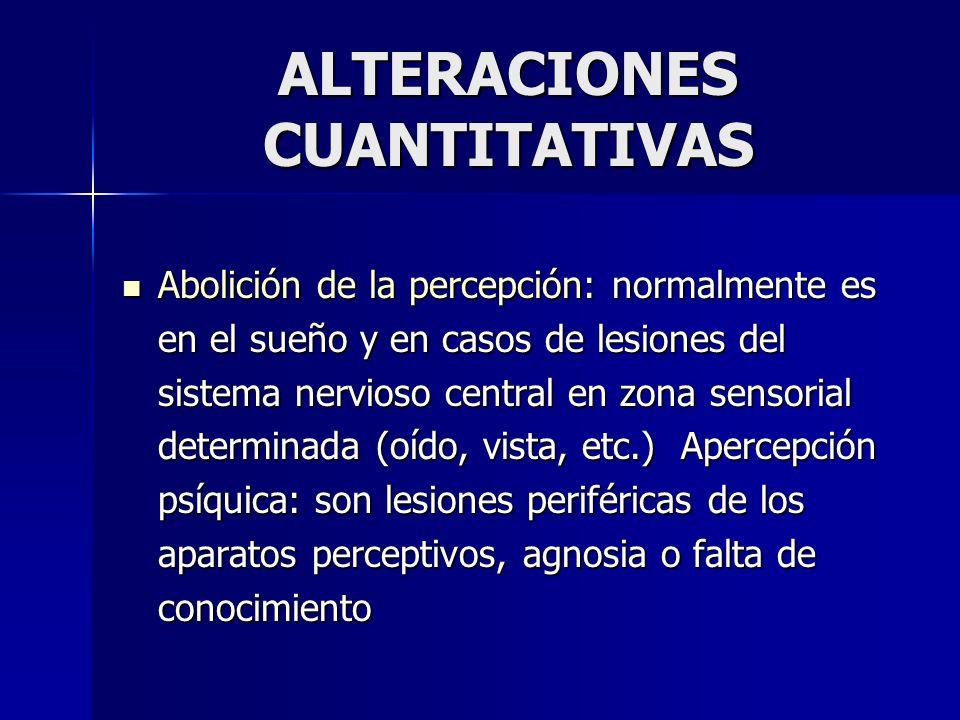 ALTERACIONES CUANTITATIVAS Abolición de la percepción: normalmente es en el sueño y en casos de lesiones del sistema nervioso central en zona sensoria