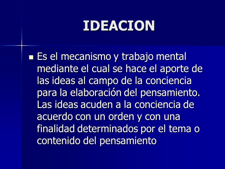 IDEACION Es el mecanismo y trabajo mental mediante el cual se hace el aporte de las ideas al campo de la conciencia para la elaboración del pensamient
