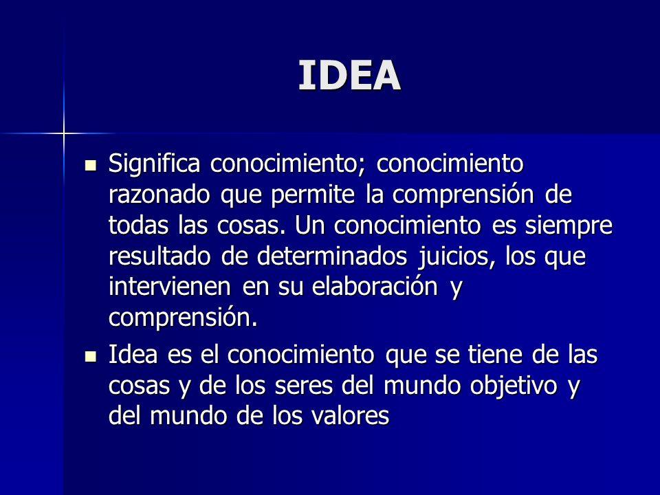 IDEA Significa conocimiento; conocimiento razonado que permite la comprensión de todas las cosas. Un conocimiento es siempre resultado de determinados