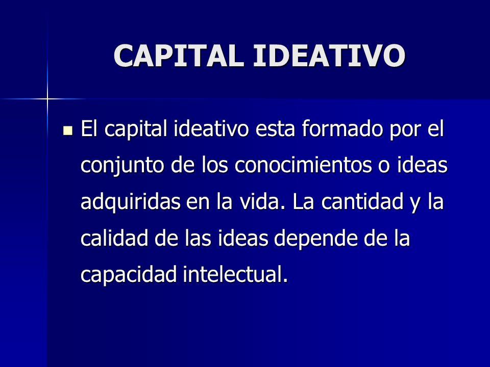 CAPITAL IDEATIVO El capital ideativo esta formado por el conjunto de los conocimientos o ideas adquiridas en la vida. La cantidad y la calidad de las
