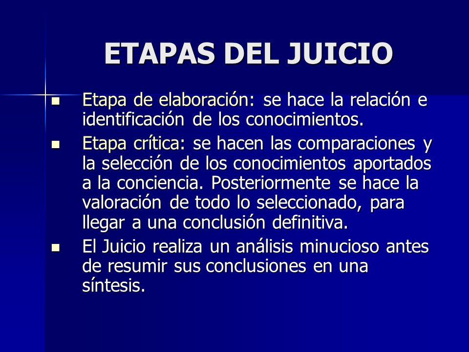 ETAPAS DEL JUICIO Etapa de elaboración: se hace la relación e identificación de los conocimientos. Etapa de elaboración: se hace la relación e identif