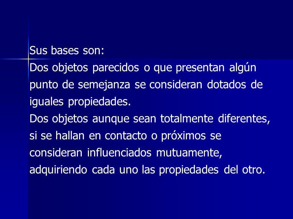 Sus bases son: Dos objetos parecidos o que presentan algún punto de semejanza se consideran dotados de iguales propiedades. Dos objetos aunque sean to